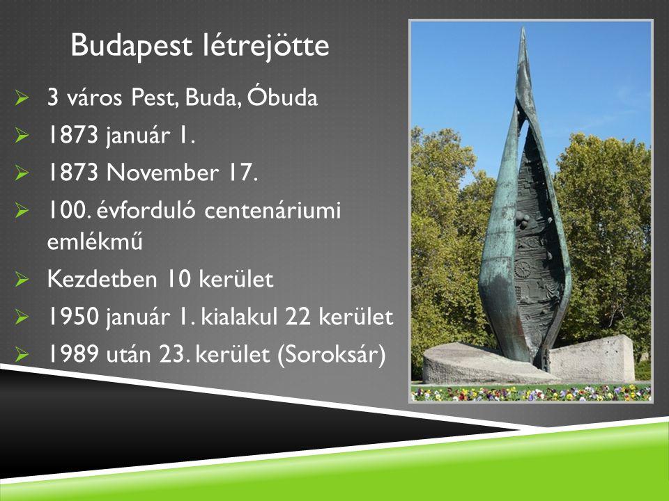 Budapest létrejötte  3 város Pest, Buda, Óbuda  1873 január 1.  1873 November 17.  100. évforduló centenáriumi emlékmű  Kezdetben 10 kerület  19