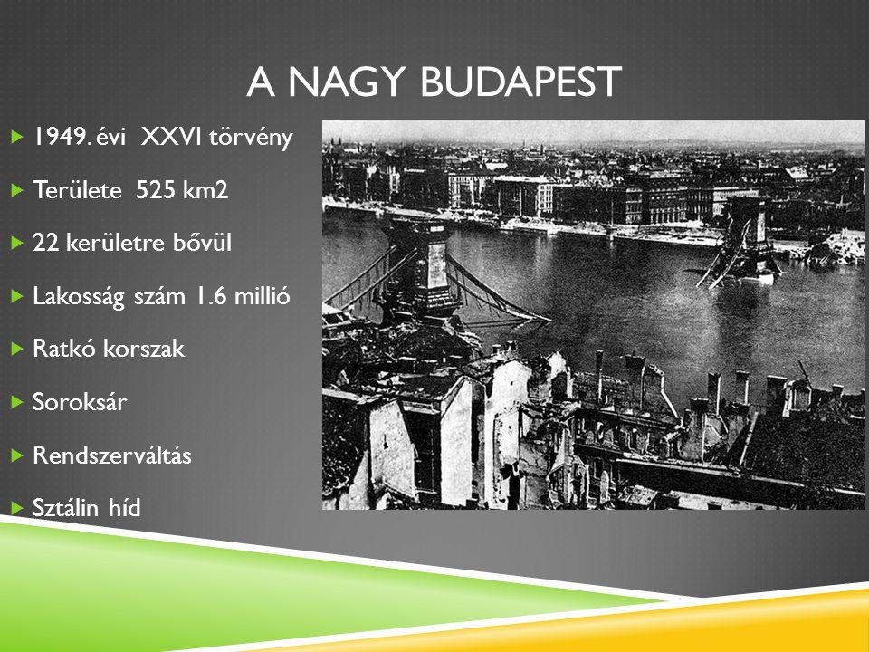 A NAGY BUDAPEST  1949. évi XXVI törvény  Területe 525 km2  22 kerületre bővül  Lakosság szám 1.6 millió  Ratkó korszak  Soroksár  Rendszerváltá