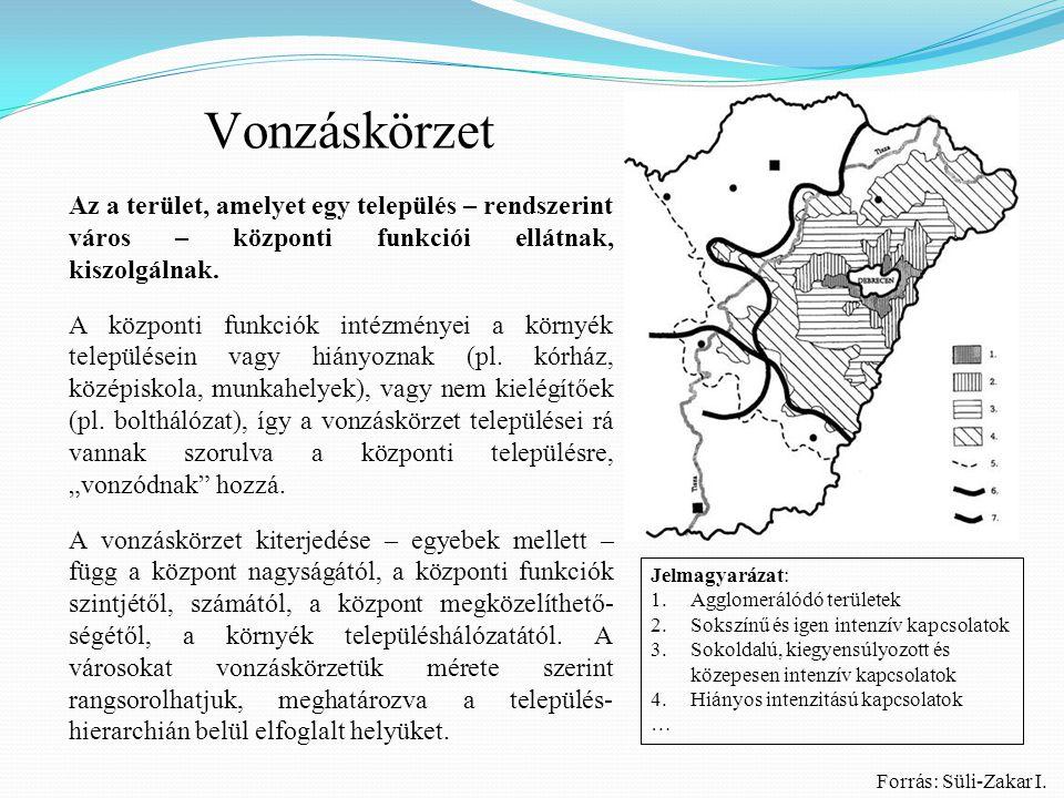 Vonzáskörzet: a városok központi funkciói által kiszolgált – ellátott terület.