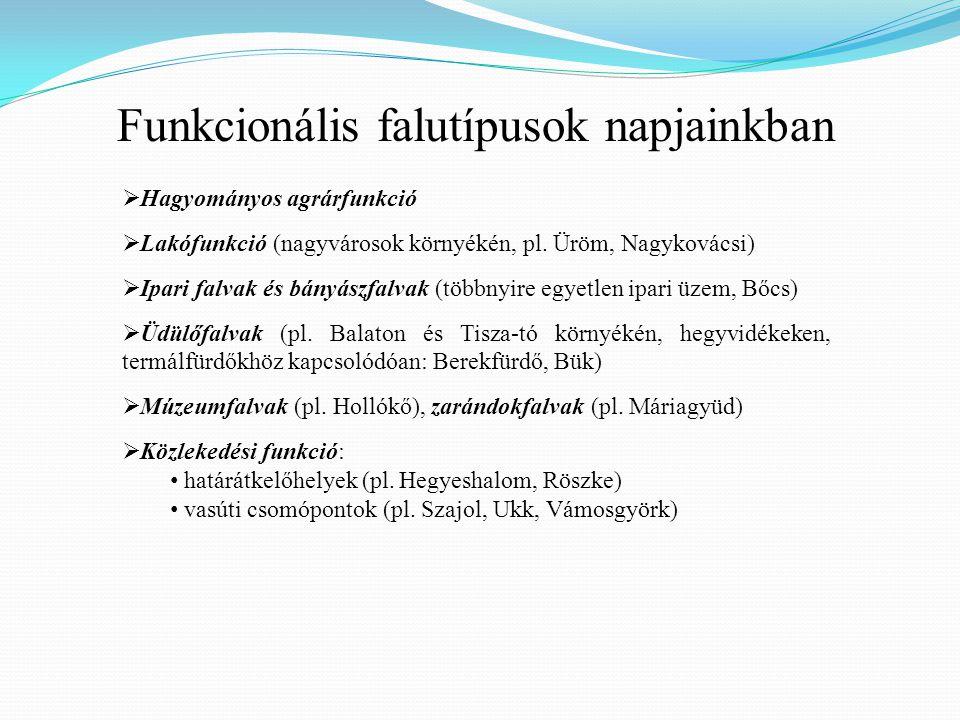 Funkcionális falutípusok napjainkban  Hagyományos agrárfunkció  Lakófunkció (nagyvárosok környékén, pl.