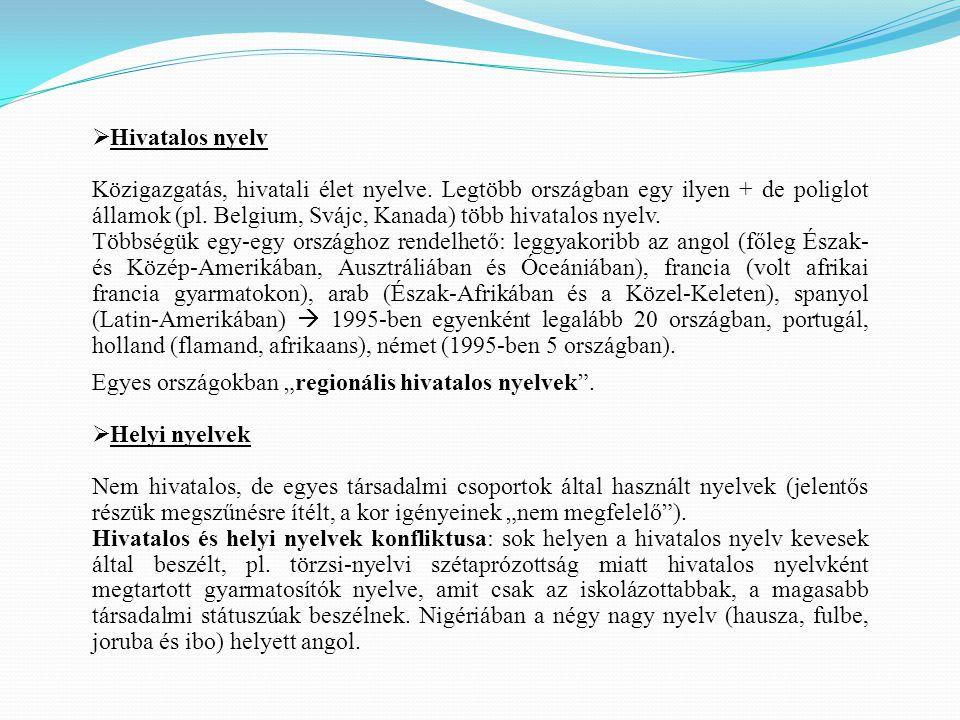  Hivatalos nyelv Közigazgatás, hivatali élet nyelve. Legtöbb országban egy ilyen + de poliglot államok (pl. Belgium, Svájc, Kanada) több hivatalos ny