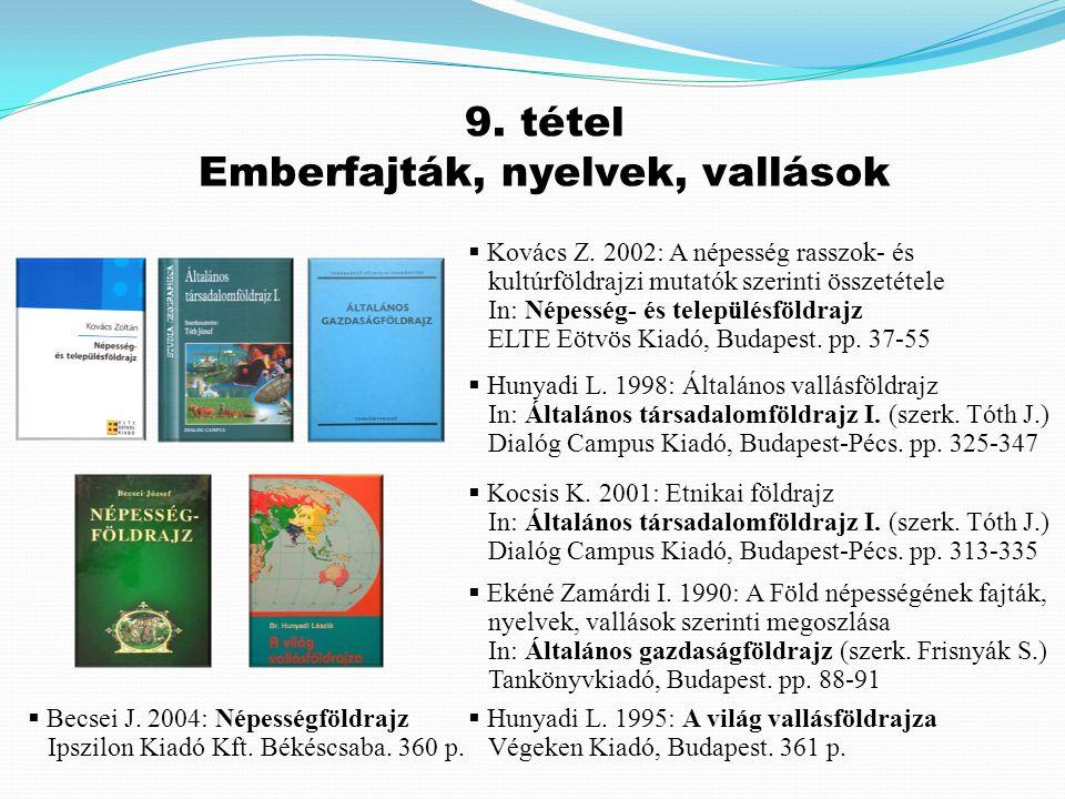  Kovács Z. 2002: A népesség rasszok- és kultúrföldrajzi mutatók szerinti összetétele In: Népesség- és településföldrajz ELTE Eötvös Kiadó, Budapest.