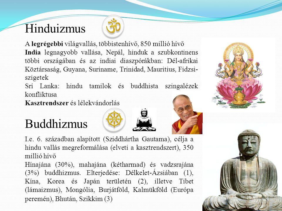 Hinduizmus A legrégebbi világvallás, többistenhívő, 850 millió hívő India legnagyobb vallása, Nepál, hinduk a szubkontinens többi országában és az ind