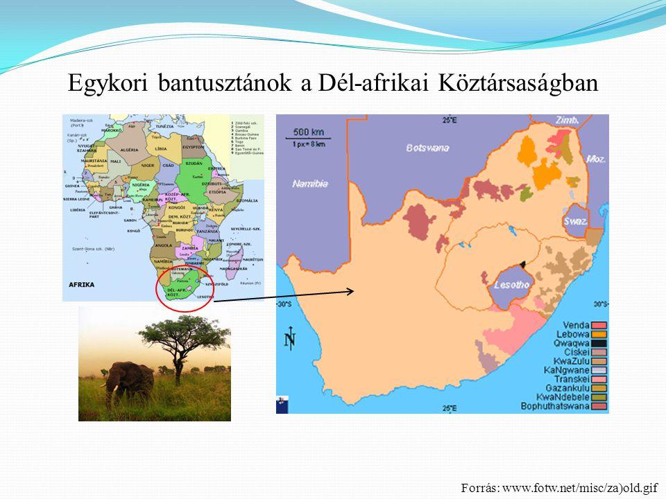 Egykori bantusztánok a Dél-afrikai Köztársaságban Forrás: www.fotw.net/misc/za)old.gif