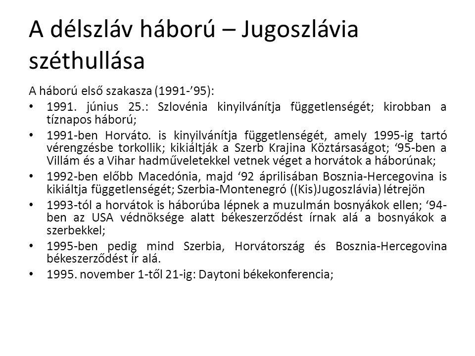 A délszláv háború – Jugoszlávia széthullása A háború első szakasza (1991-'95): 1991.