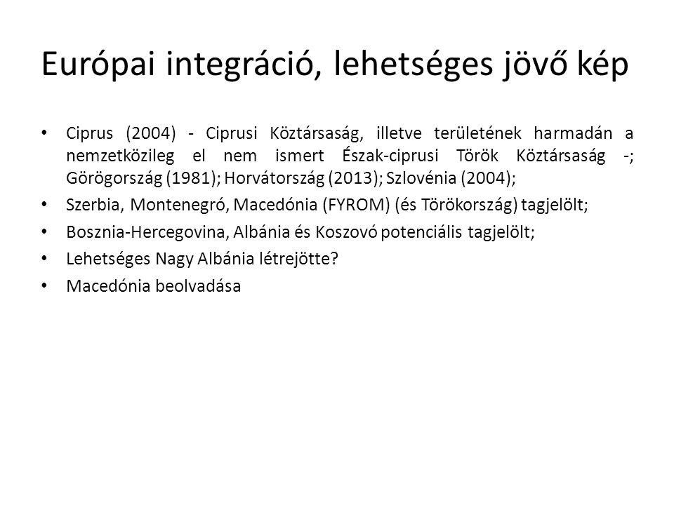 Európai integráció, lehetséges jövő kép Ciprus (2004) - Ciprusi Köztársaság, illetve területének harmadán a nemzetközileg el nem ismert Észak-ciprusi Török Köztársaság -; Görögország (1981); Horvátország (2013); Szlovénia (2004); Szerbia, Montenegró, Macedónia (FYROM) (és Törökország) tagjelölt; Bosznia-Hercegovina, Albánia és Koszovó potenciális tagjelölt; Lehetséges Nagy Albánia létrejötte.