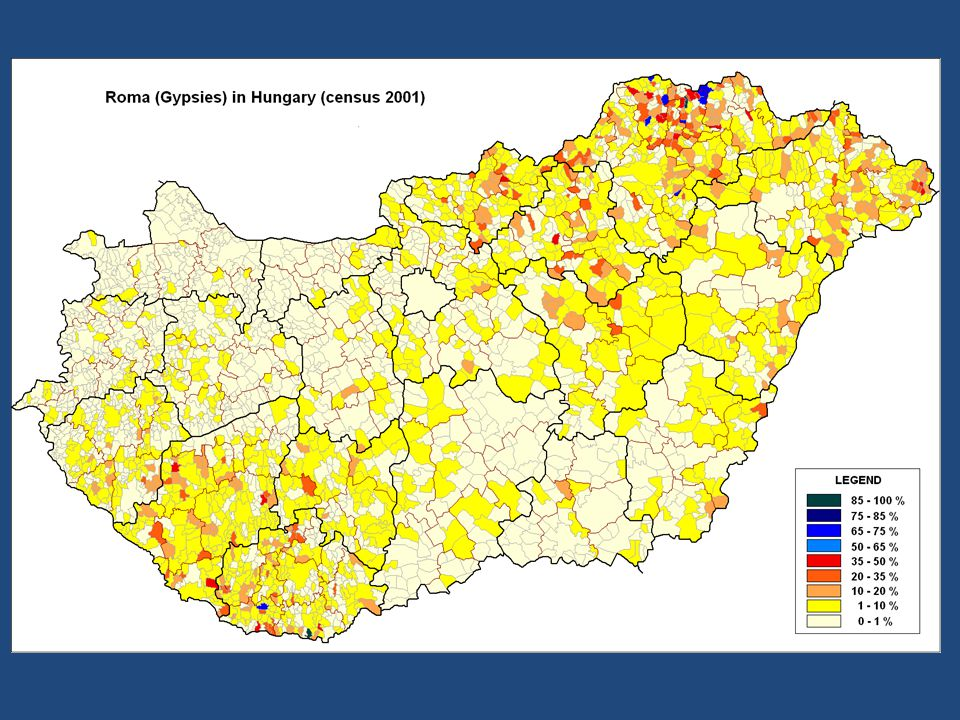 Megoszlás: Megoszlásuk: – magyar cigányok (romungró) (70%) – oláh cigányok (21%) – beás cigányok (8%) – egyéb (szintók, vend cigányok, stb.) (1%)