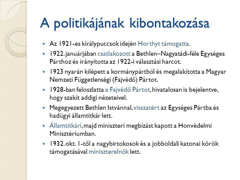A politikájának kibontakozása Az 1921-es királypuccsok idején Horthyt támogatta.