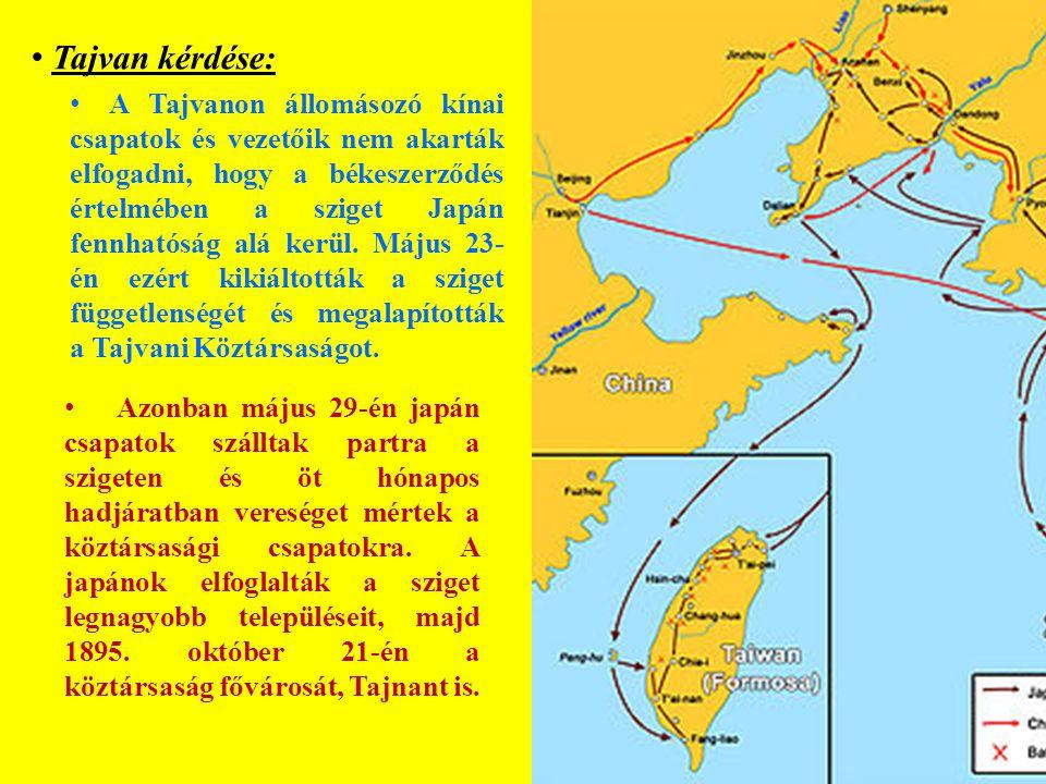 A Tajvanon állomásozó kínai csapatok és vezetőik nem akarták elfogadni, hogy a békeszerződés értelmében a sziget Japán fennhatóság alá kerül.