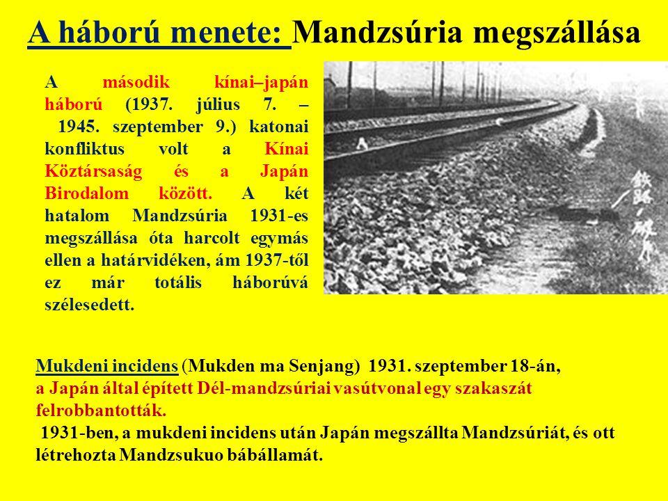A háború menete: Mandzsúria megszállása A második kínai–japán háború (1937.