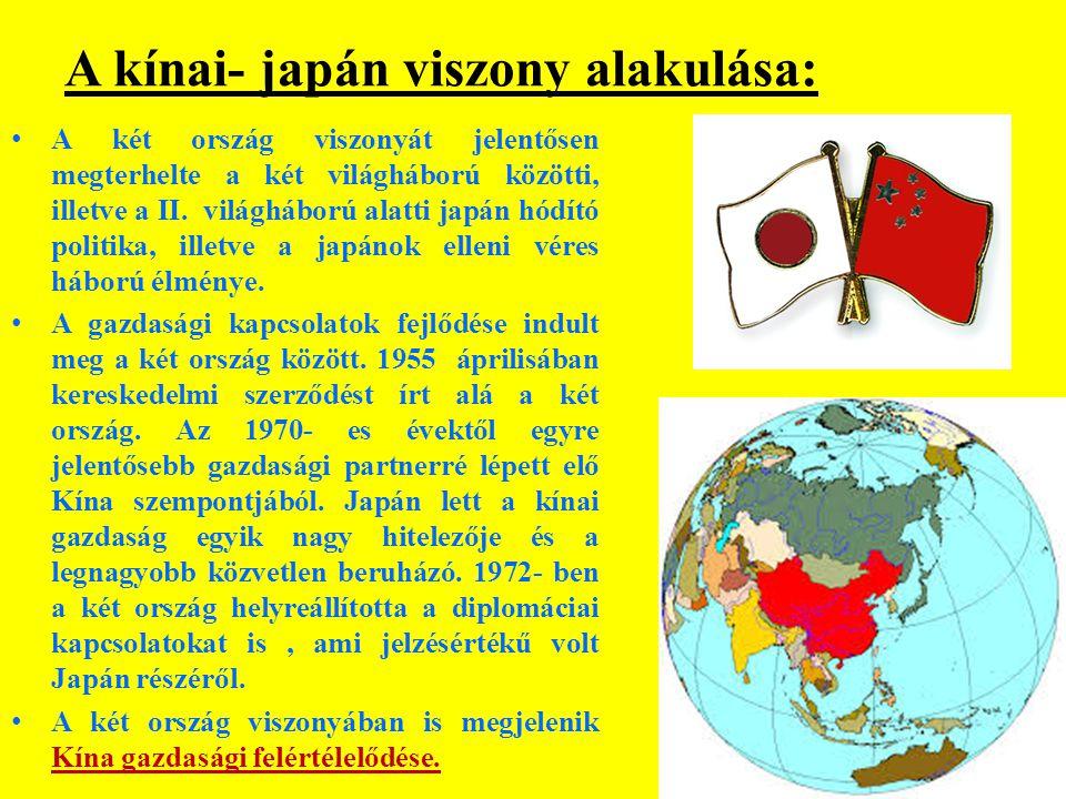 A kínai- japán viszony alakulása: A két ország viszonyát jelentősen megterhelte a két világháború közötti, illetve a II.