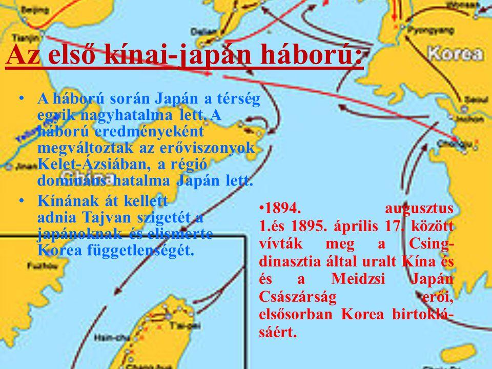 Az első kínai-japán háború: 1894.augusztus 1.és 1895.