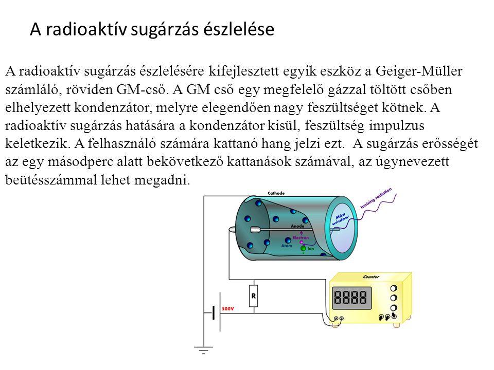 A radioaktív sugárzás észlelése A radioaktív sugárzás észlelésére kifejlesztett egyik eszköz a Geiger-Müller számláló, röviden GM-cső. A GM cső egy me