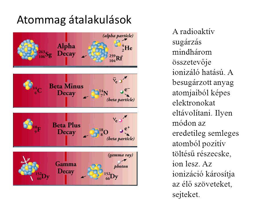 Atommag átalakulások A radioaktív sugárzás mindhárom összetevője ionizáló hatású. A besugárzott anyag atomjaiból képes elektronokat eltávolítani. Ilye