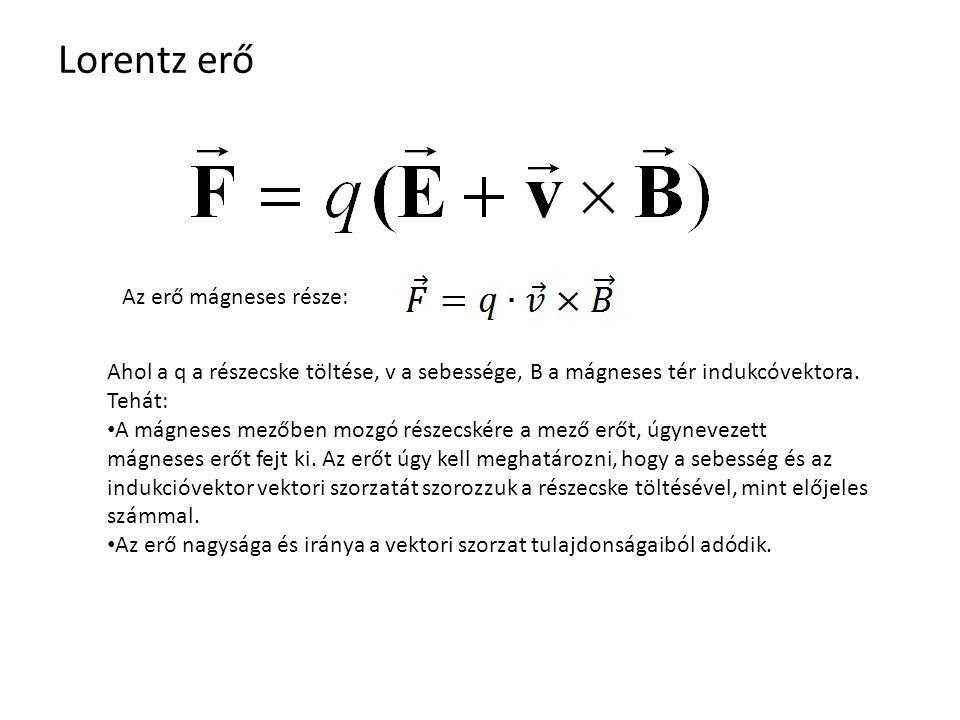 Lorentz erő Az erő mágneses része: Ahol a q a részecske töltése, v a sebessége, B a mágneses tér indukcóvektora.