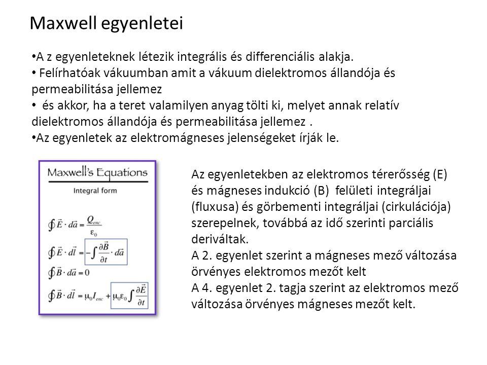 Maxwell egyenletei A z egyenleteknek létezik integrális és differenciális alakja. Felírhatóak vákuumban amit a vákuum dielektromos állandója és permea