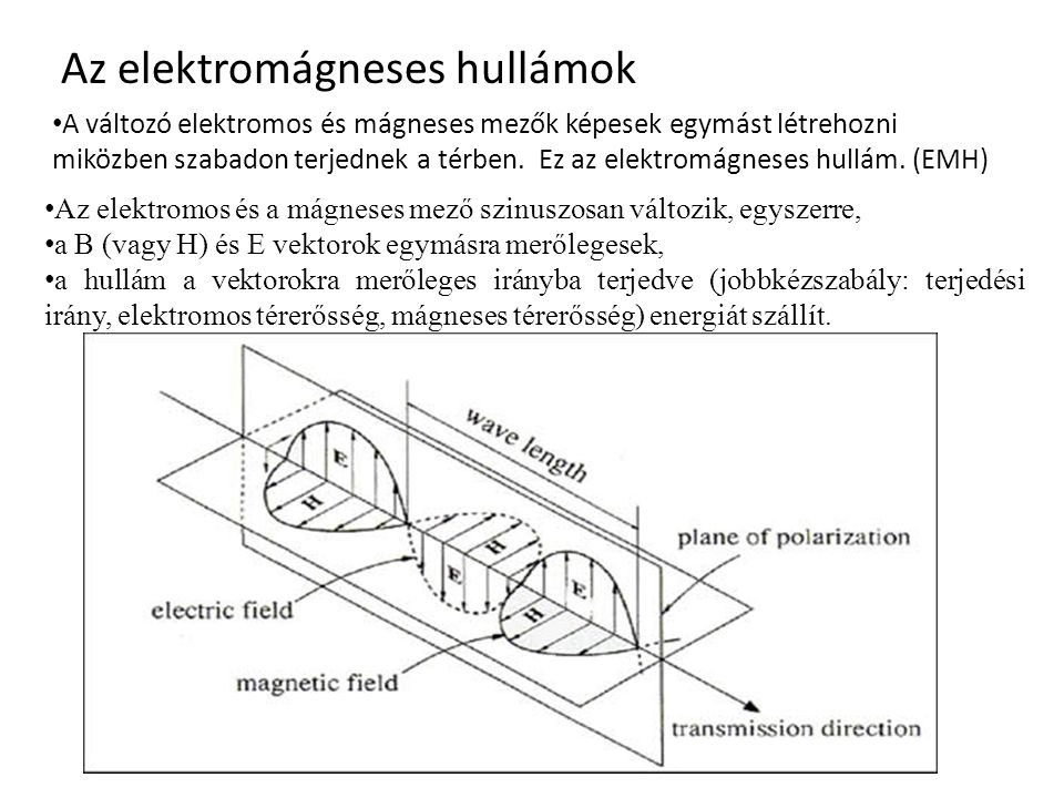 Az elektromágneses hullámok A változó elektromos és mágneses mezők képesek egymást létrehozni miközben szabadon terjednek a térben. Ez az elektromágne
