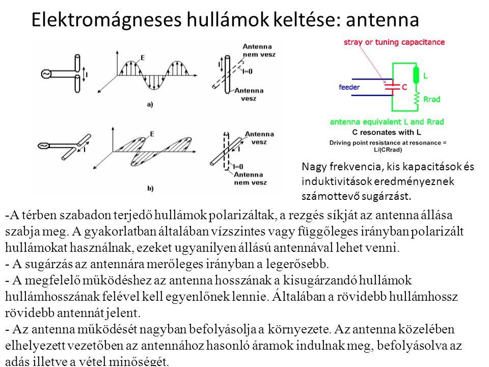 Elektromágneses hullámok keltése: antenna Nagy frekvencia, kis kapacitások és induktivitások eredményeznek számottevő sugárzást. -A térben szabadon te