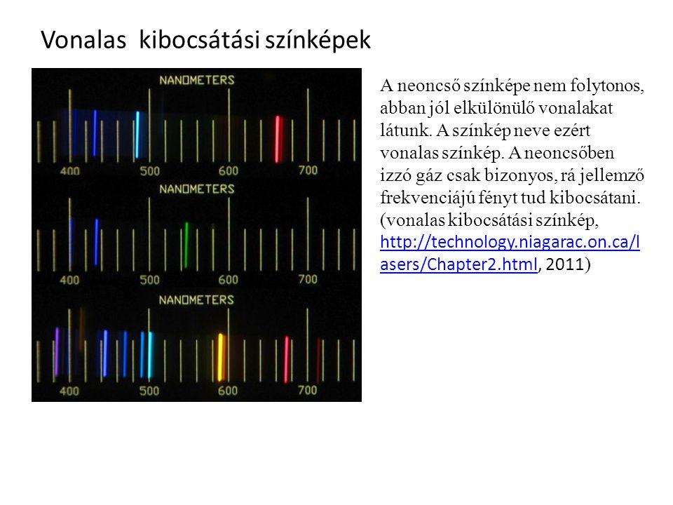 Vonalas elnyelési színképek http://www.astro-canada.ca/_en/a3300.htmlhttp://www.astro-canada.ca/_en/a3300.html, 2011 Az izzó gőzök atomjai többféle, de jól meghatározott, az adott atomra jellemező frekvenciájú fényt képesek kibocsátani.