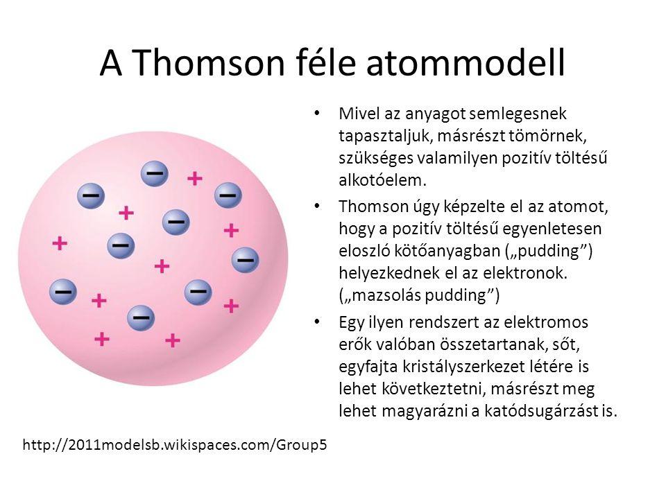A Thomson féle atommodell Mivel az anyagot semlegesnek tapasztaljuk, másrészt tömörnek, szükséges valamilyen pozitív töltésű alkotóelem. Thomson úgy k