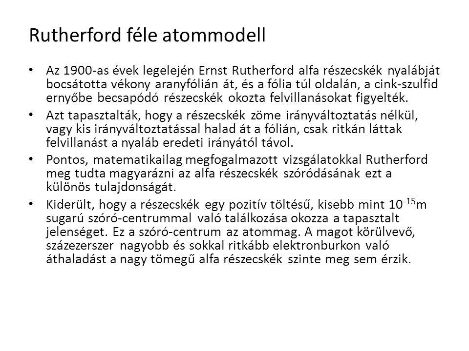 Rutherford féle atommodell Az 1900-as évek legelején Ernst Rutherford alfa részecskék nyalábját bocsátotta vékony aranyfólián át, és a fólia túl oldalán, a cink-szulfid ernyőbe becsapódó részecskék okozta felvillanásokat figyelték.