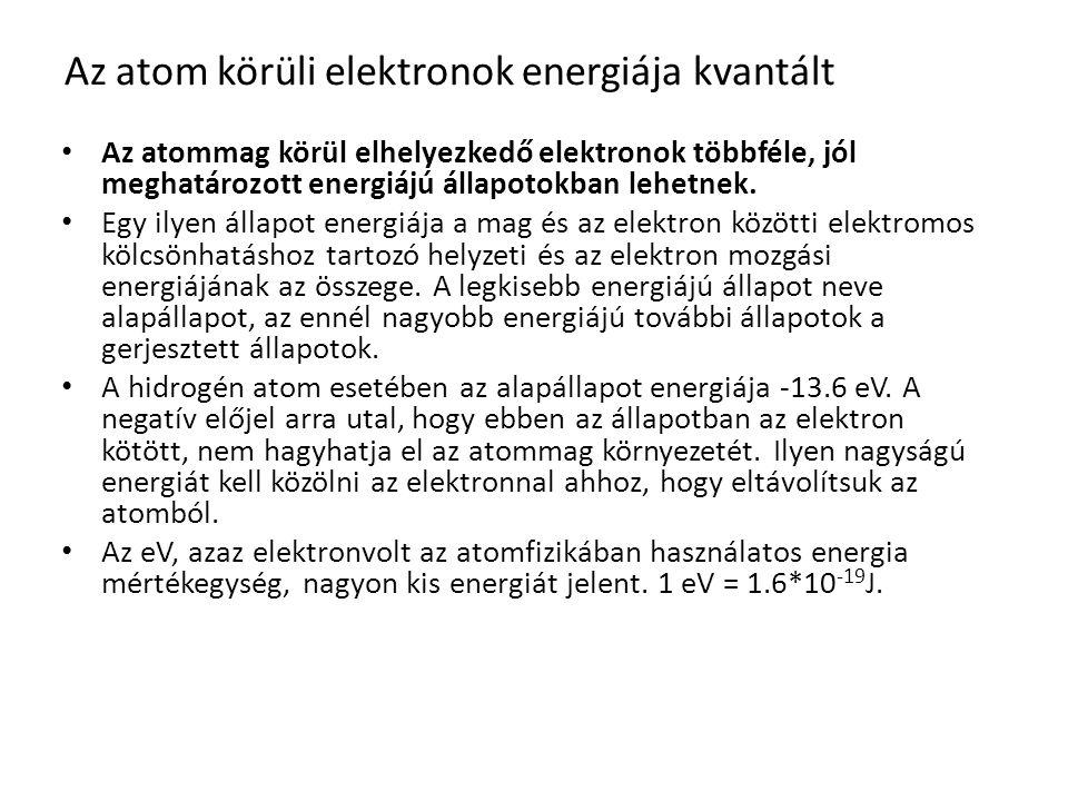 Az atom körüli elektronok energiája kvantált Az atommag körül elhelyezkedő elektronok többféle, jól meghatározott energiájú állapotokban lehetnek.