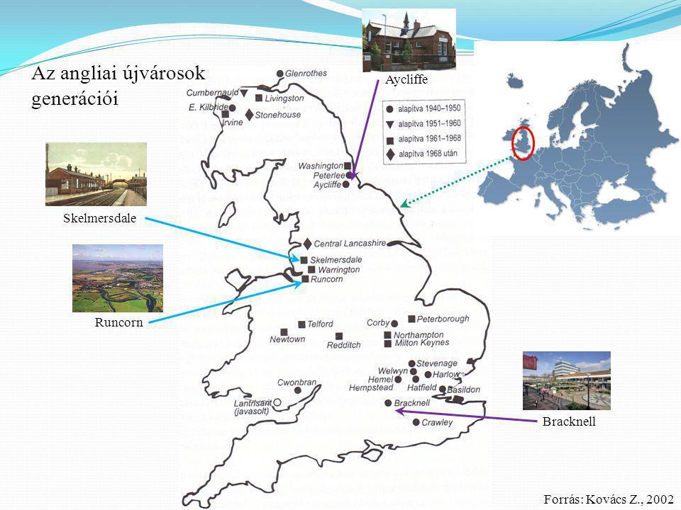 Bracknell Aycliffe Az angliai újvárosok generációi Skelmersdale Runcorn Forrás: Kovács Z., 2002