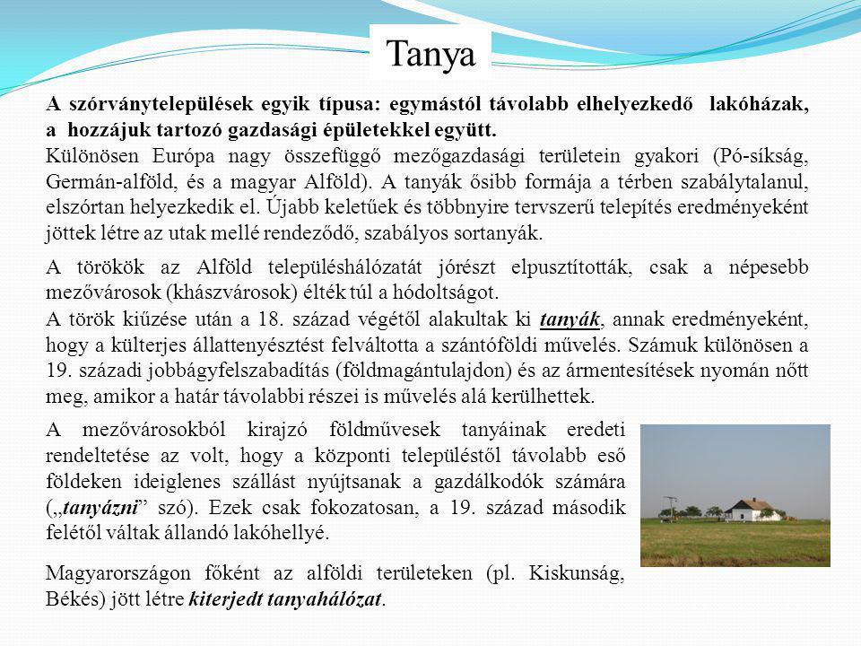 """Tanya A mezővárosokból kirajzó földművesek tanyáinak eredeti rendeltetése az volt, hogy a központi településtől távolabb eső földeken ideiglenes szállást nyújtsanak a gazdálkodók számára (""""tanyázni szó)."""