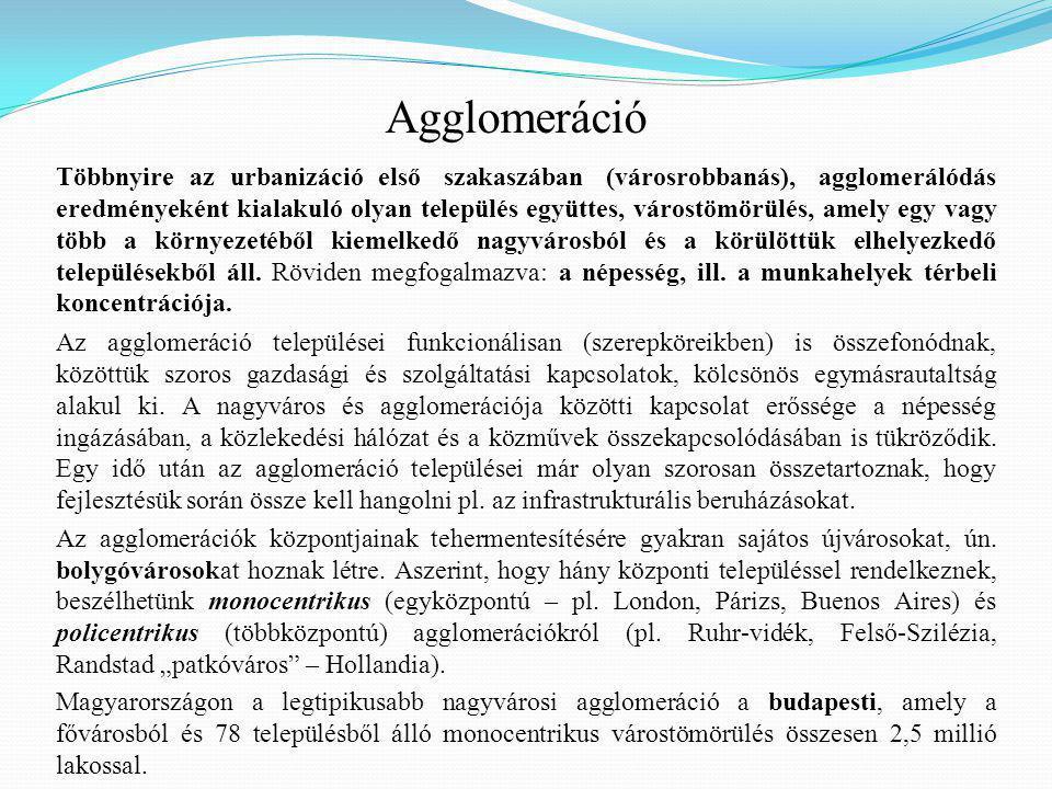 Az agglomeráció települései funkcionálisan (szerepköreikben) is összefonódnak, közöttük szoros gazdasági és szolgáltatási kapcsolatok, kölcsönös egymásrautaltság alakul ki.