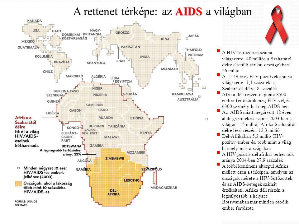 AIDS A rettenet térképe: az AIDS a világban  A HIV-fertőzöttek száma világszerte: 40 millió; a Szaharától délre elterülő afrikai országokban: 26 mill