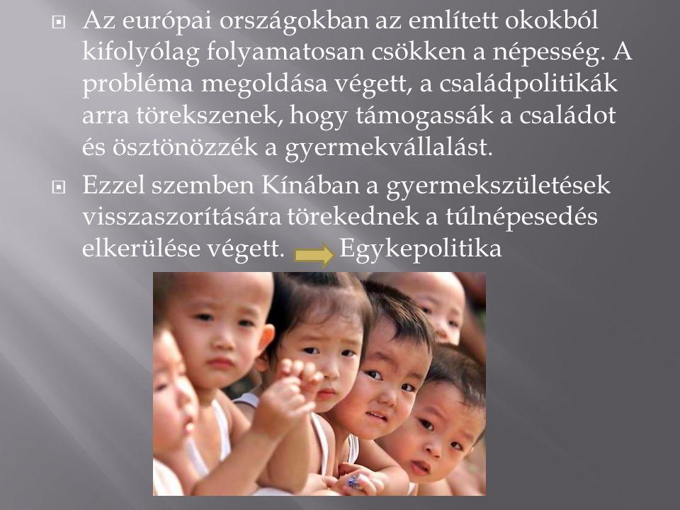  Az európai országokban az említett okokból kifolyólag folyamatosan csökken a népesség.