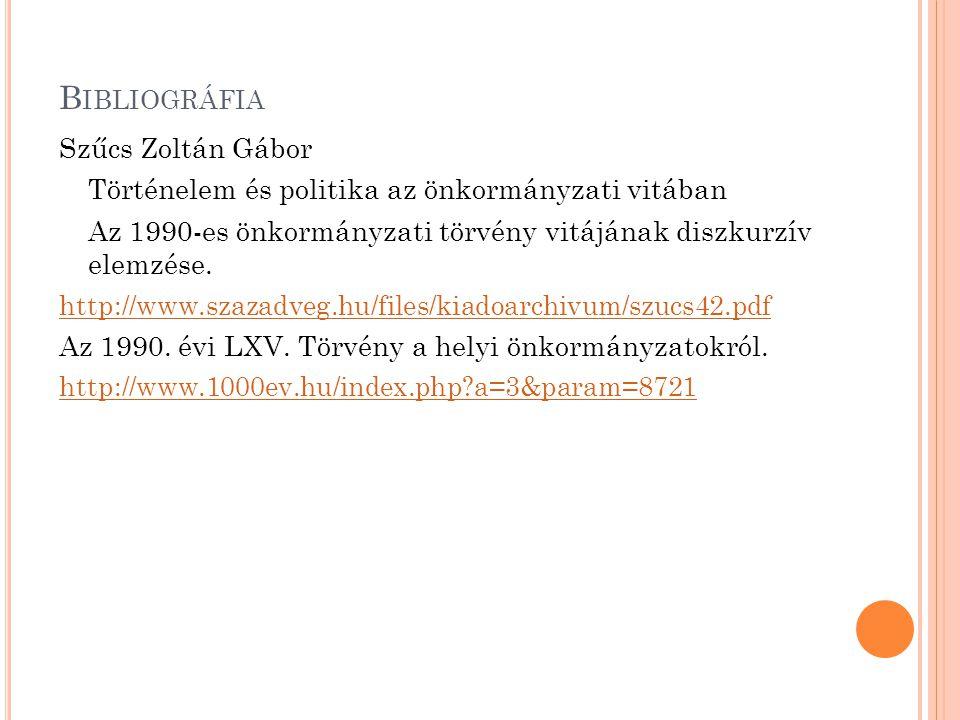 B IBLIOGRÁFIA Szűcs Zoltán Gábor Történelem és politika az önkormányzati vitában Az 1990-es önkormányzati törvény vitájának diszkurzív elemzése.