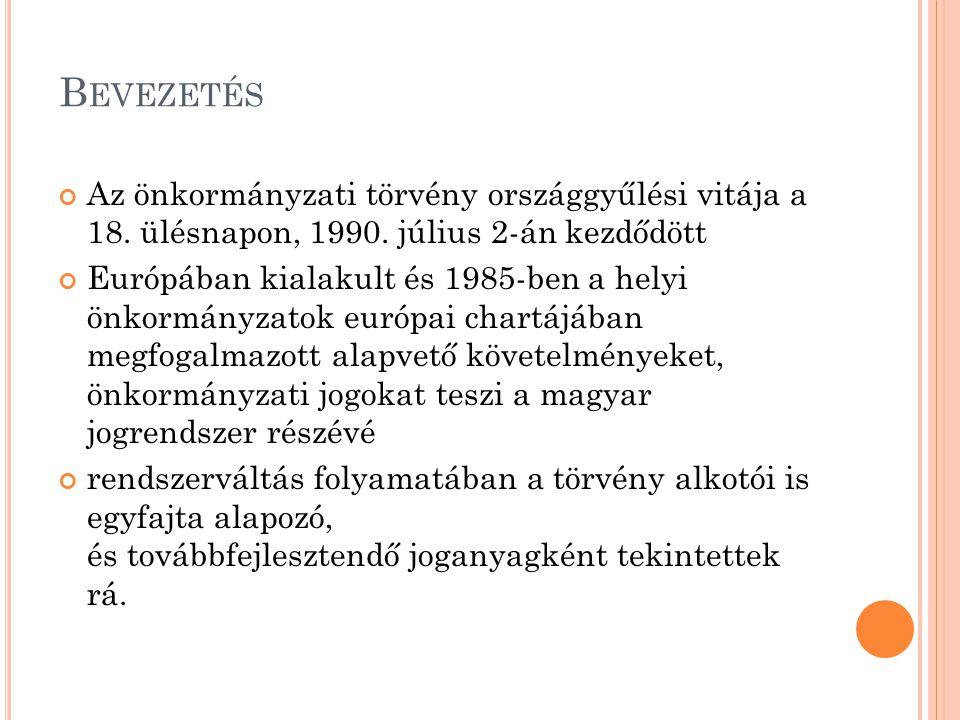 B EVEZETÉS Az önkormányzati törvény országgyűlési vitája a 18.