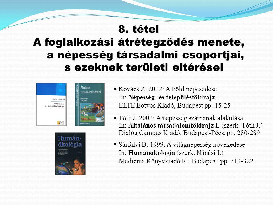  Kovács Z. 2002: A Föld népesedése In: Népesség- és településföldrajz ELTE Eötvös Kiadó, Budapest pp. 15-25  Tóth J. 2002: A népesség számának alaku