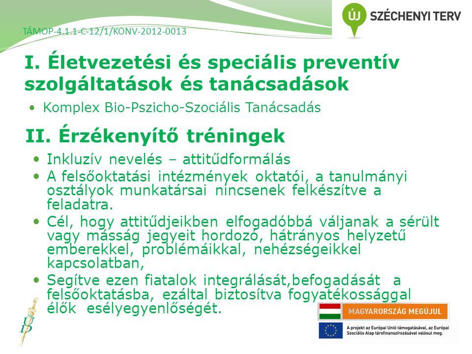 I. Életvezetési és speciális preventív szolgáltatások és tanácsadások TÁMOP-4.1.1-C-12/1/KONV-2012-0013 Komplex Bio-Pszicho-Szociális Tanácsadás II. É