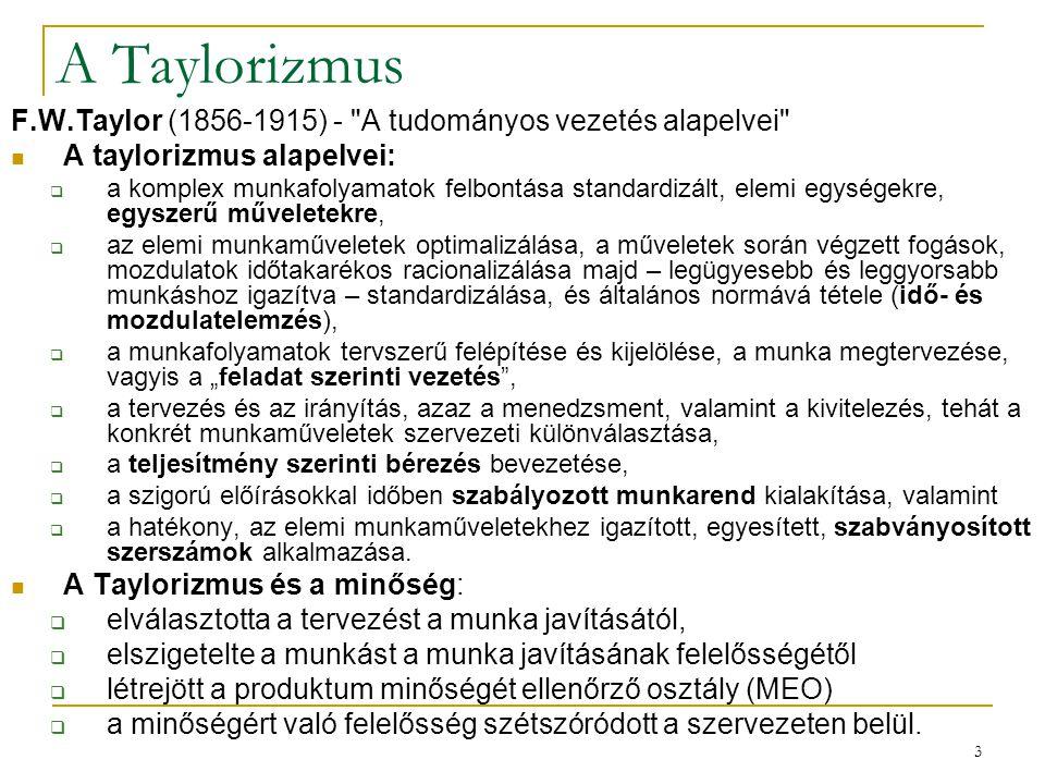 3 A Taylorizmus F.W.Taylor (1856-1915) -