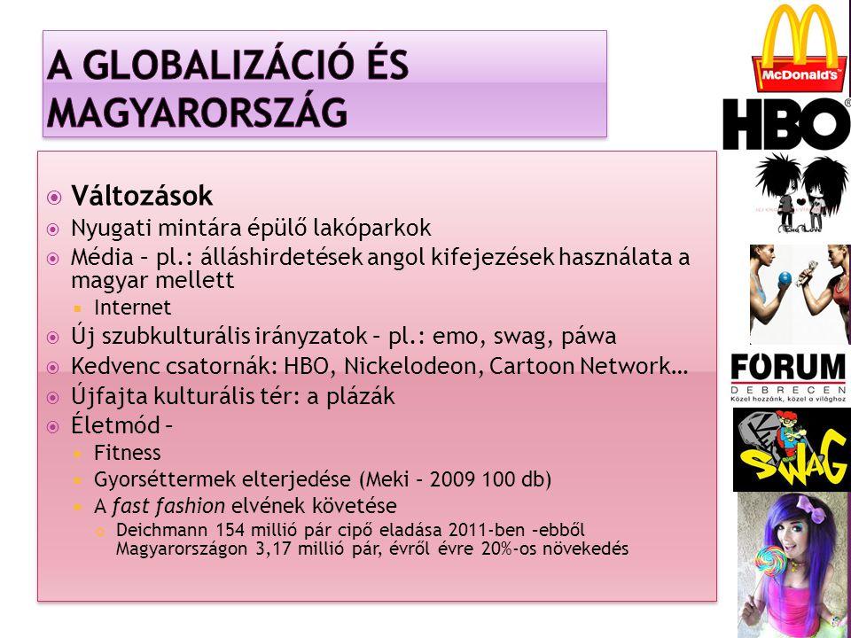  Változások  Nyugati mintára épülő lakóparkok  Média – pl.: álláshirdetések angol kifejezések használata a magyar mellett  Internet  Új szubkulturális irányzatok – pl.: emo, swag, páwa  Kedvenc csatornák: HBO, Nickelodeon, Cartoon Network…  Újfajta kulturális tér: a plázák  Életmód –  Fitness  Gyorséttermek elterjedése (Meki – 2009 100 db)  A fast fashion elvének követése Deichmann 154 millió pár cipő eladása 2011-ben –ebből Magyarországon 3,17 millió pár, évről évre 20%-os növekedés  Változások  Nyugati mintára épülő lakóparkok  Média – pl.: álláshirdetések angol kifejezések használata a magyar mellett  Internet  Új szubkulturális irányzatok – pl.: emo, swag, páwa  Kedvenc csatornák: HBO, Nickelodeon, Cartoon Network…  Újfajta kulturális tér: a plázák  Életmód –  Fitness  Gyorséttermek elterjedése (Meki – 2009 100 db)  A fast fashion elvének követése Deichmann 154 millió pár cipő eladása 2011-ben –ebből Magyarországon 3,17 millió pár, évről évre 20%-os növekedés