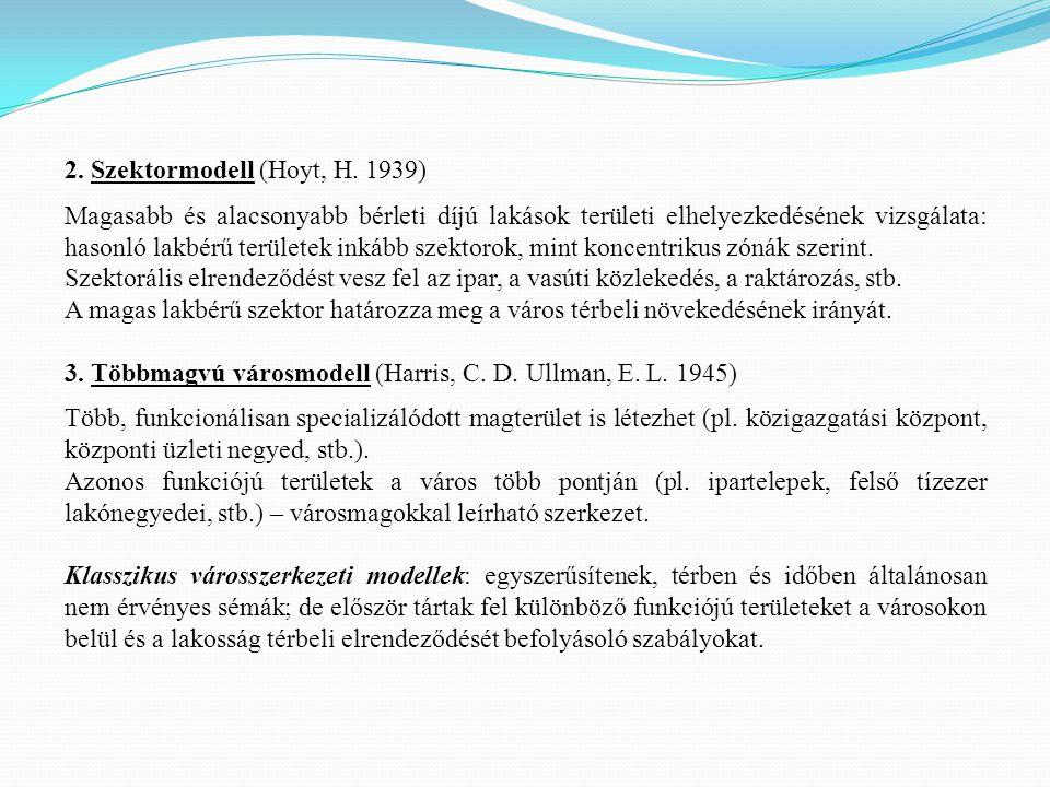 2. Szektormodell (Hoyt, H. 1939) Magasabb és alacsonyabb bérleti díjú lakások területi elhelyezkedésének vizsgálata: hasonló lakbérű területek inkább