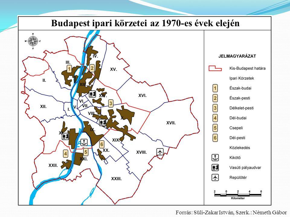 Budapest városszerkezete az 1970-es évek elején Forrás: Süli-Zakar István, Szerk.: Németh Gábor