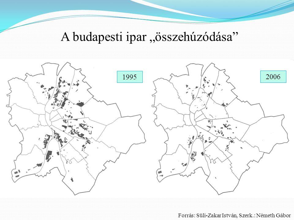 """A budapesti ipar """"összehúzódása"""" 19952006 Forrás: Süli-Zakar István, Szerk.: Németh Gábor 1995 2006"""