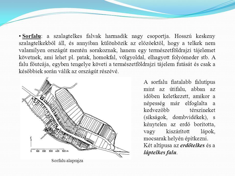 Sorfalu: a szalagtelkes falvak harmadik nagy csoportja.