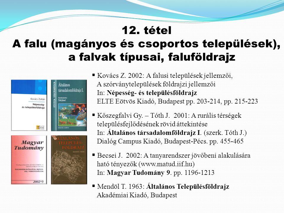 12.tétel A falu (magányos és csoportos települések), a falvak típusai, faluföldrajz  Kovács Z.