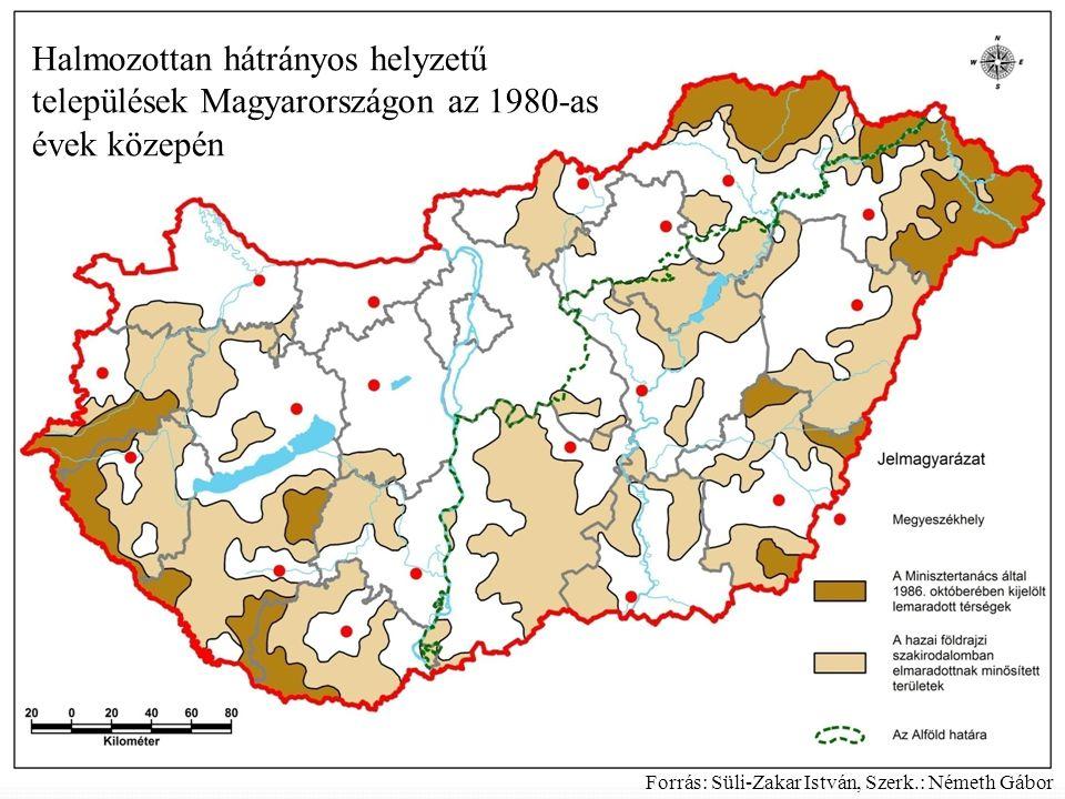 Halmozottan hátrányos helyzetű települések Magyarországon az 1980-as évek közepén Forrás: Süli-Zakar István, Szerk.: Németh Gábor