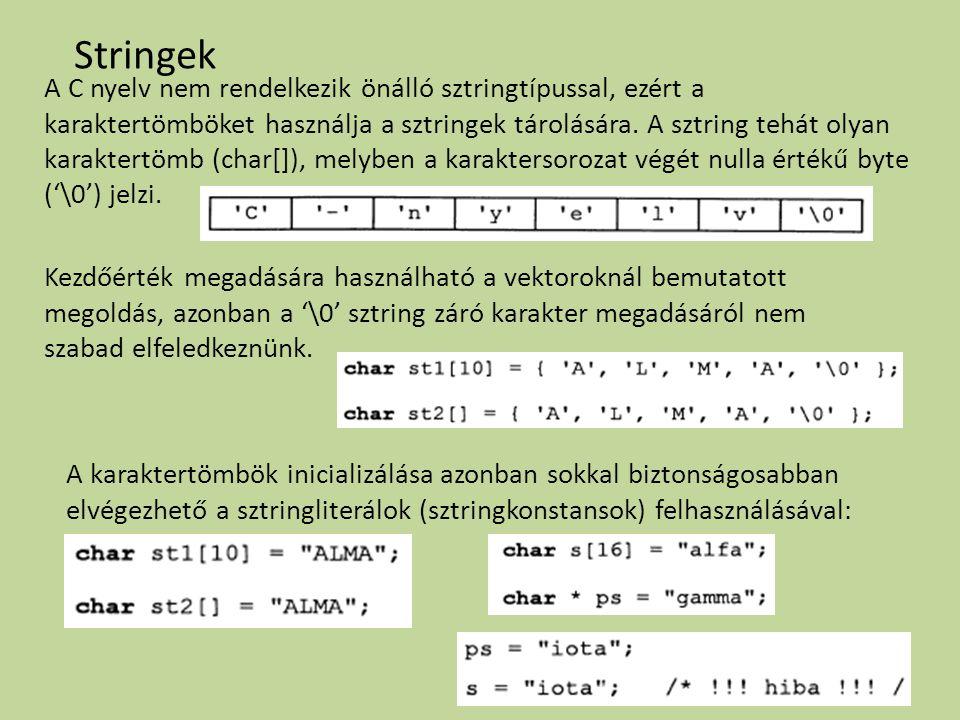 Stringek A C nyelv nem rendelkezik önálló sztringtípussal, ezért a karaktertömböket használja a sztringek tárolására. A sztring tehát olyan karaktertö