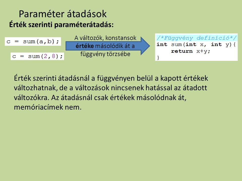 Paraméter átadások Érték szerinti paraméterátadás: Érték szerinti átadásnál a függvényen belül a kapott értékek változhatnak, de a változások nincsene