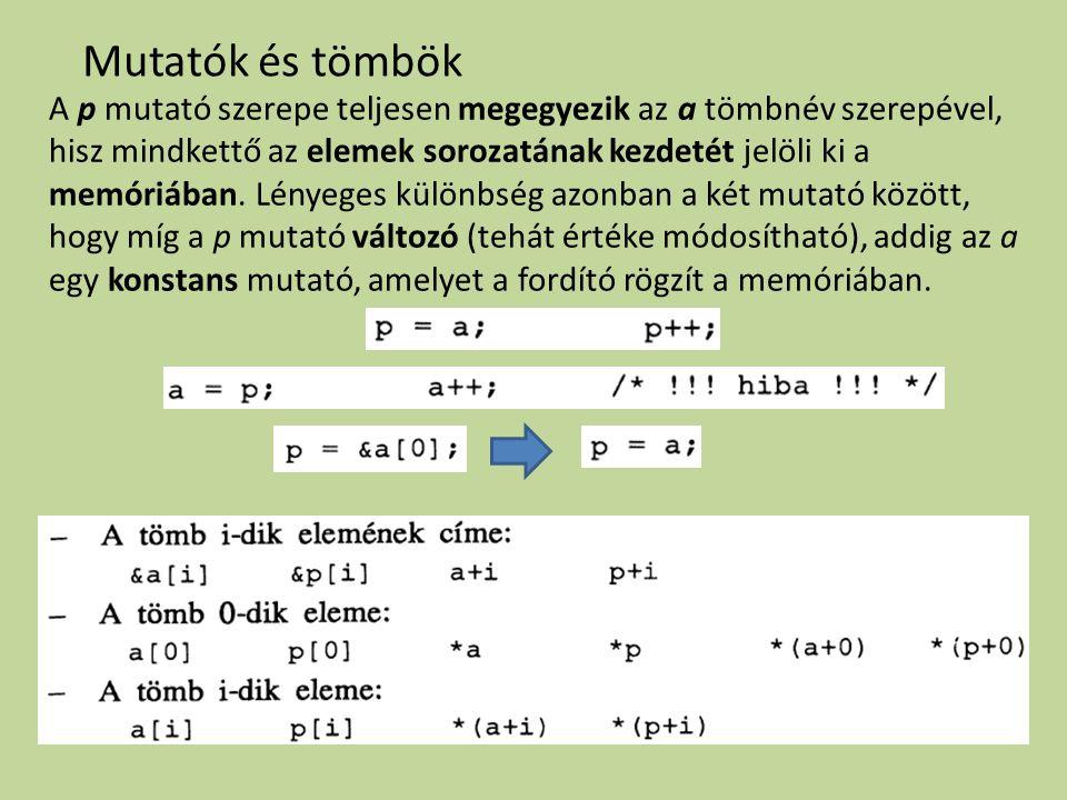 Mutatók és tömbök A p mutató szerepe teljesen megegyezik az a tömbnév szerepével, hisz mindkettő az elemek sorozatának kezdetét jelöli ki a memóriában