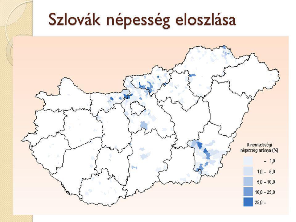 Szlovák népesség eloszlása