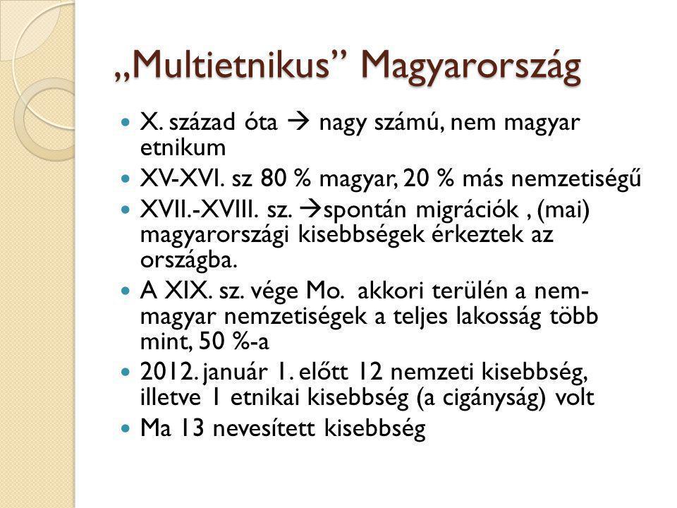 """""""Multietnikus"""" Magyarország X. század óta  nagy számú, nem magyar etnikum XV-XVI. sz 80 % magyar, 20 % más nemzetiségű XVII.-XVIII. sz.  spontán mig"""