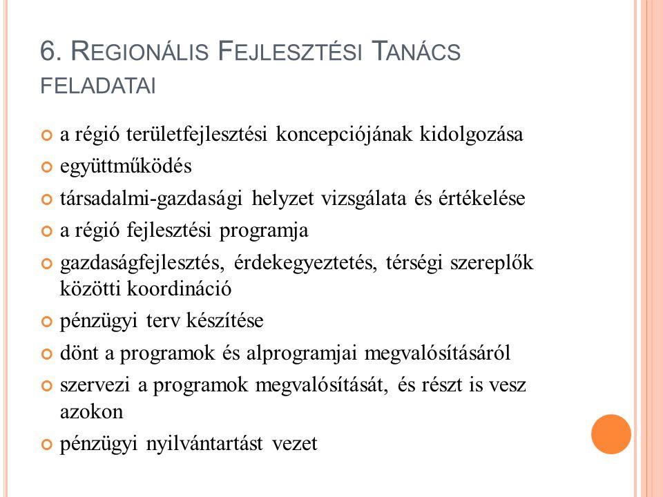 6. R EGIONÁLIS F EJLESZTÉSI T ANÁCS FELADATAI a régió területfejlesztési koncepciójának kidolgozása együttműködés társadalmi-gazdasági helyzet vizsgál