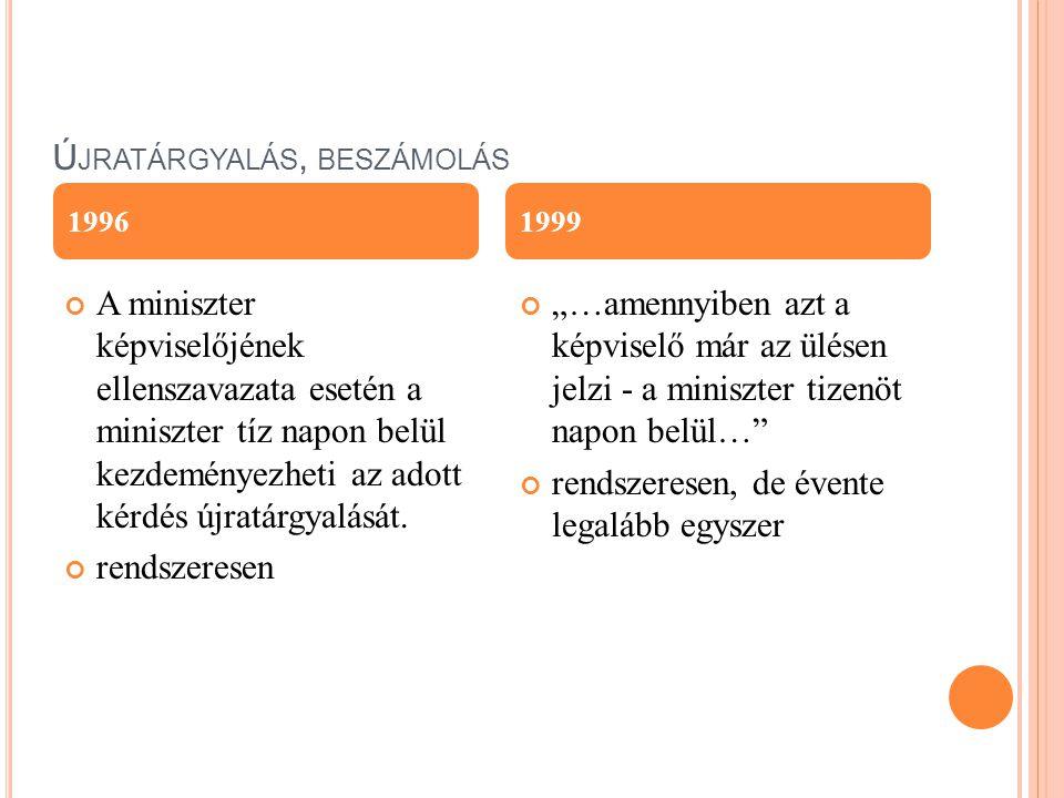 Ú JRATÁRGYALÁS, BESZÁMOLÁS A miniszter képviselőjének ellenszavazata esetén a miniszter tíz napon belül kezdeményezheti az adott kérdés újratárgyalásá